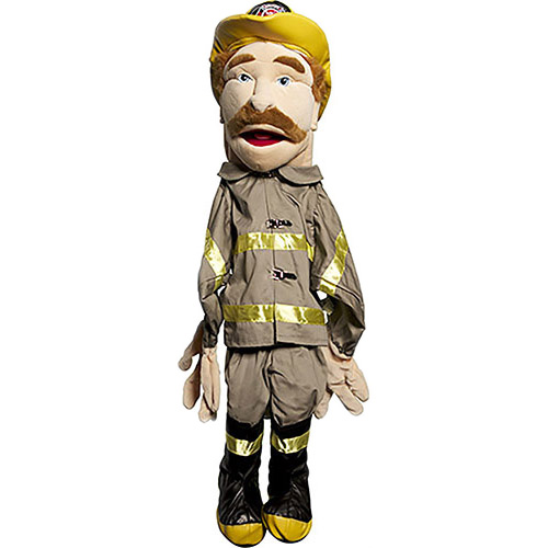 "28"" Sculpted Face Fireman Human Arm Puppet"